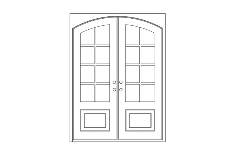 Craftsman Square Eyebrow Top  - Double Door