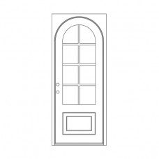 Craftsman Square Jamb with Round Top - Single Door