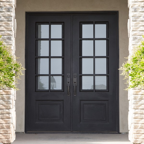 Craftsman Double Front Door craftsman iron door, double and single doors in-stock